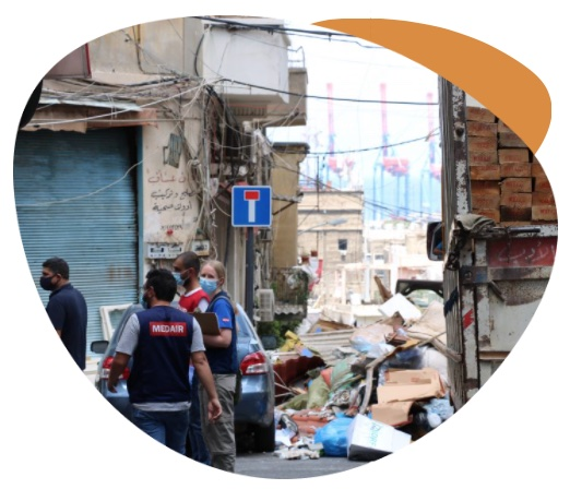 A group of Medair workers distributing sealing off kits to affected families in Beirut